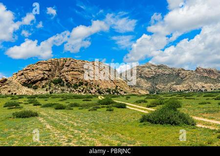 Khugnu Khan Mountains, Khögnö Khan Uul National Park, Bulgan Province, Mongolia - Stock Photo