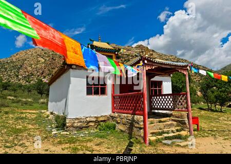 Temple, Erdene Khamba Monastery, Khugnu Khan Mountains, Khögnö Khan Uul National Park, Bulgan Province, Mongolia - Stock Photo