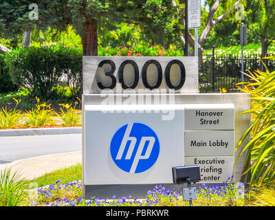 Palo Alto, CA, USA - June 28, 2015: Hewlett-Packard Headquarters. Hewlett-Packard is an American multinational information technology company. - Stock Photo