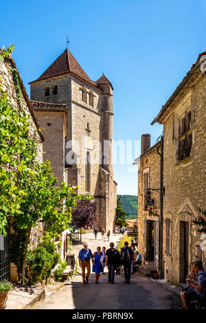 Church of Saint-Cirq-Lapopie on  Santiago de Compostela pilgrimage road, labelled as a Les Plus Beaux Villages de France - Stock Photo