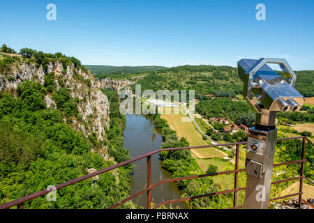 View of River Lot and Vallee du Lot from Saint-Cirq-Lapopie , labelled as a Les Plus Beaux Villages de France or The Most Beautiful Villages of France - Stock Photo