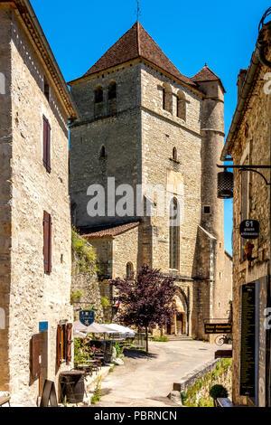 Church of Saint-Cirq-Lapopie on  Santiago de Compostela pilgrimage road, labelled as a Les Plus Beaux Villages de France or The Most Beautiful Village - Stock Photo