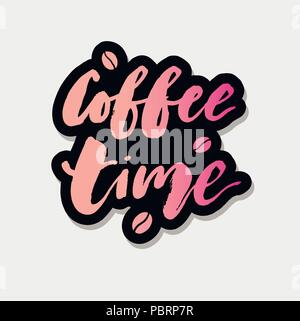 Coffee Time Brush Lettering Calligraphy Phrase Vector Text Sticker - Stock Photo