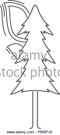 linear Icon of a burning tree. isolated vector illustration - Stock Photo