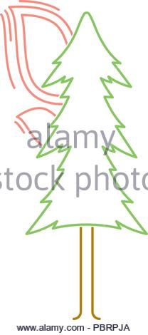 colored linear icon of a burning tree. isolated vector illustration - Stock Photo