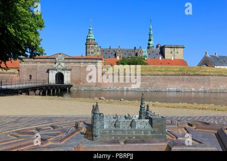 A scale model of Kronborg Castle (a UNESCO World Heritage Site since 2000) in Helsingor, Denmark - Stock Photo
