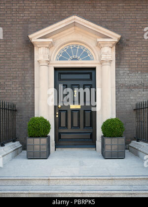 A typical entrance in Dublin with black door and golden handles, a staircase and two plants - Stock Photo