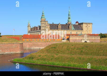 The main entrance of Kronborg Castle (a UNESCO World Heritage Site since 2000) in Helsingor, Denmark - Stock Photo