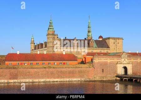 The main entrance of Kronborg Castle (a UNESCO World Heritage Site since 2000) in Helsingor, Denmark - Stock Photo