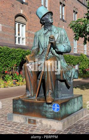 Monument to the world famous Danish author Hans Christian Andersen (2 April 1805 - 4 August 1875) in Copenhagen, Denmark - Stock Photo