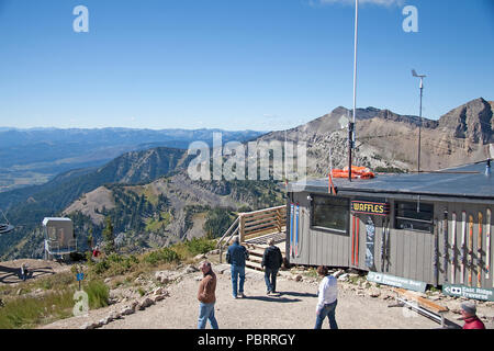 Taken at the top of Rendezvous Mountain, in Teton Village, Jackson Hole, Wyoming, USA.  A glimpse of the awesome view available here on the mountainto - Stock Photo