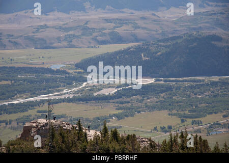 Taken at the top of Rendezvous Mountain, in Teton Village, Jackson Hole, Wyoming, USA, near to Corbet's Cabin cafe. A gorgeous view of the Snake River - Stock Photo