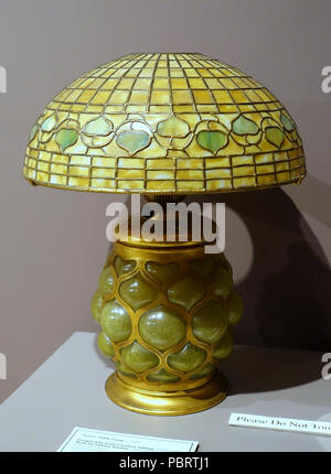 Acorn table lamp, Louis Comfort Tiffany, mady by Tiffany Studios, Corona NY, c. 1895, stained and blown glass with gilt bronze fittings - - Stock Photo