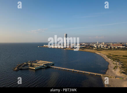 Aerial view of Ribersborg Beach and Vastra Hamnen district in Malmo - Stock Photo