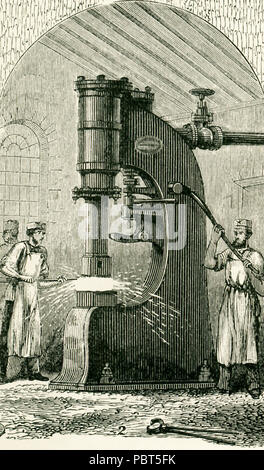 This illustration dates to the 1870s and shows Nasmyth's Steam Hammer. James Nasmyth was a Scottish engineer who gained fame for his development of the steam hammer. He was co-founder of Nasmyth, Gaskell and Company manufacturers of machine tools. With the steam hammer, the steam is admitted below the piston, which is thus raised to any required height within the limits of the stroke. When the communication with the boiler is shut off and the steam below the piston is allowed to escape, the piston, with the mass of ironforming the hammer attached to the piston-rod, falls by its own weight. Thi - Stock Photo