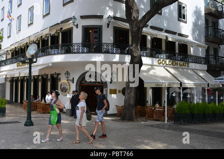 Golden Gate Grand Cafe on Avenida Zarco, in the summer. Funchal, Madeira, Portugal - Stock Photo