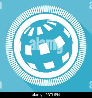 Earth editable flat vector icon, square web button, blue computer and smartphone application sign in eps 10 - Stock Photo