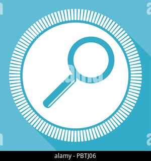 Search editable flat vector icon, square web button, blue computer and smartphone application sign in eps 10 - Stock Photo