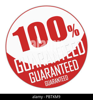 Seal or banner of one hundred percent guaranteed in red and white. 3D Illustration. - Stock Photo