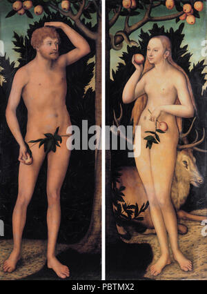 Adam and Eve, by Lucas Cranach the younger. - Stock Photo