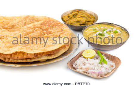 indian traditional street food Dal Pakwan - Stock Photo