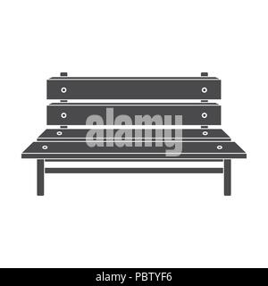 Bench icon in black style isolated on white background. Park symbol vector illustration. - Stock Photo