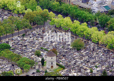 cemetery in Paris, France. aerial view from Montparnasse tower - Stock Photo