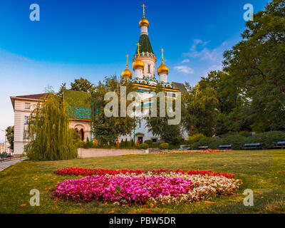 he Russian St. Nicholas church in the centre of Sofia city, capital of Bulgaria - Stock Photo