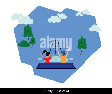 A woman and a man travel by car. Conceptual idea of a flat design of a vector graphic set of illustrations. Navigation, online map on the smartphone, routes, GPS on the city map, mobile application - Stock Photo