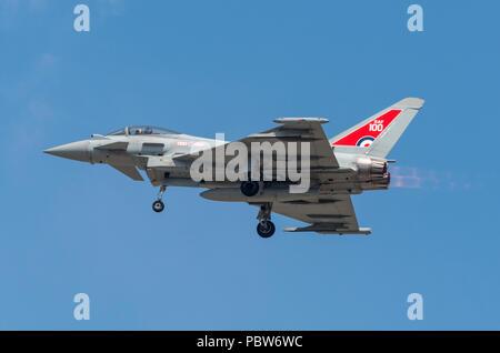 Eurofighter fyphoon canard-delta wing multirole fighter aircraft Jagdflugzeug GmbH manufacturer. - Stock Photo