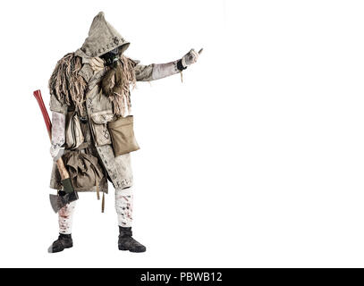 Survived after nuclear disaster human in gas mask - Stock Photo
