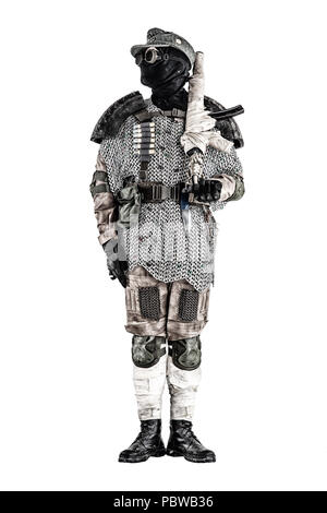 Post apocalyptic warrior with handmade firearm - Stock Photo