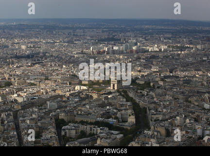 Paris, France. 21st July, 2018. Looking down onto Paris, France from the top of the Eiffel Tower. The tower was constructed from 1887â€'89 as the entrance to the 1889 World's Fair. It has become a globaal cultural icon of France and one of the most recognisable structures in the world. The Eiffel Tower is the most-visited paid monument in the world; 6.91 million people ascended it in 2015. Credit: Leigh Taylor/ZUMA Wire/Alamy Live News - Stock Photo