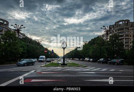 BUCHAREST, ROMANIA - 07.20.2018. Clock Bucharest 1459 on Union Boulevard in Romania in a summer morning - Stock Photo