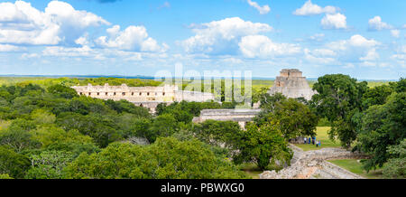 Uxmal ruins in the jungle, an ancient Maya city of the classical period. One of the most important archaeological sites of Maya culture. UNESCO World  - Stock Photo