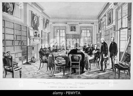 CABINET MEETING at No 10 Downing Street during  William Gladstone's 1868-1874  ministry - Stock Photo