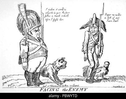 GEORGE CRUIKSHANK (1792-1878) English caricaturist. A cartoon comparing British and French soldiers - Stock Photo