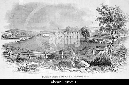 DANIEL WEBSTER (1782-1852) American politician. An 1851 engraving of his farm in Marshfield,Massachusetts - Stock Photo