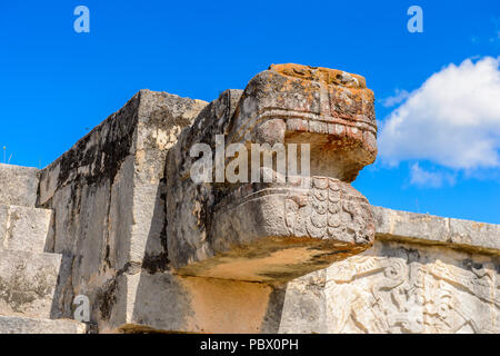 Plumed Serpent, Venus Platform, Chichen Itza, Tinum Municipality, Yucatan State. It was a large pre-Columbian city built by the Maya people of the Ter - Stock Photo