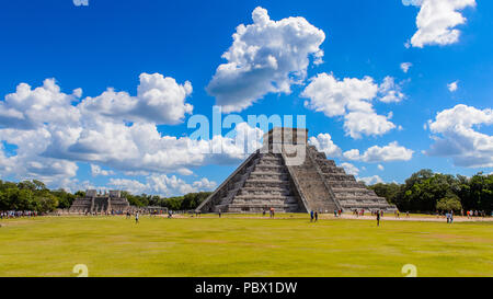 El Castillo (Temple of Kukulcan),  a Mesoamerican step-pyramid, Chichen Itza. It was a large pre-Columbian city built by the Maya people of the Termin - Stock Photo