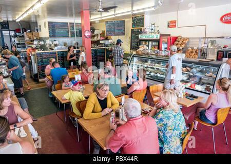 Customers dine at Sweetie's Sandwich Shop; Salida; Colorado; USA - Stock Photo