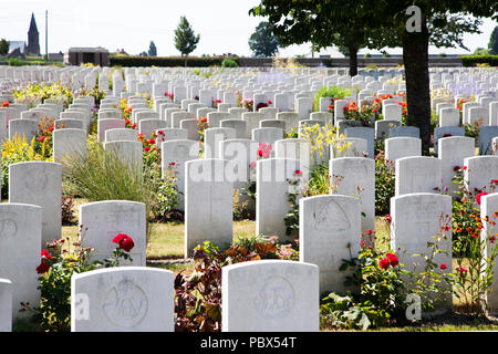 Commonwealth War graves Commission cemetery at Poelcapelle near Passchendaele, Belgium with 7500 graves including British, Canadian, Australian, New Z - Stock Photo