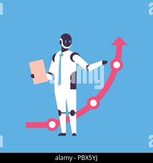 modern robot holding financial arrow up finance protection concept artificial intelligence blue background flat full length - Stock Photo