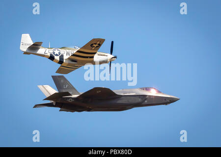 Fairford, Gloucestershire, UK - July 14th, 2018:  US Air Force Heritage Flight, P-51 Mustang, Spitfire and F-35 Lightning 2 displaying at RIAT 2018 - Stock Photo