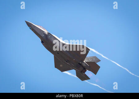 Fairford, Gloucestershire, UK - July 14th, 2018: An RAF Lockheed Martin F-35 Lightning II displays at Fairford International Air Tattoo - Stock Photo
