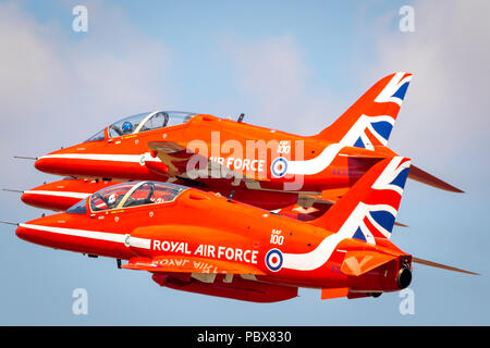 Fairford, Gloucestershire, UK - July 14th, 2018: RAF Display Team the Red Arrows Fairford International Air Tattoo 2018 in their Hawk T1 Jet Trainers - Stock Photo