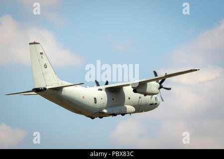 Fairford, Gloucestershire, UK - July 14th, 2018:  Italian Air Force Alenia Aermacchi C-27J Spartan displays at Fairford International Air Tattoo 2018 - Stock Photo