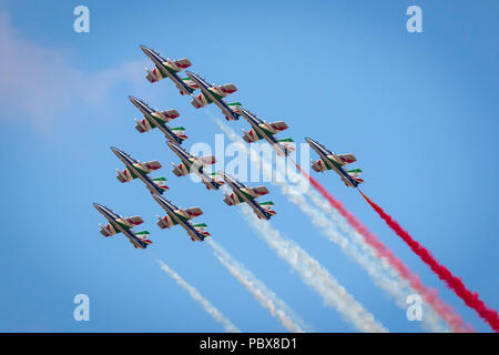Fairford, Gloucestershire, UK - July 14th, 2018: The Italian Air Force Tricolori performs at Fairford International Air Tattoo 2018 - Stock Photo