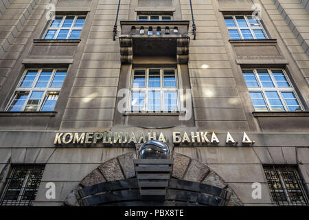BELGRADE, SERBIA - JULY 21, 2018: Komercijalna Banka logo on their main office in Belgrade. Currently being privatized, Komercijalna Banka is Serbian  - Stock Photo