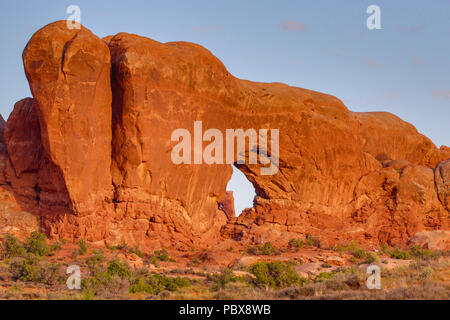 Arch of stone in Arches National Park Moab Utah - Stock Photo